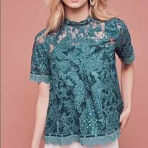 Sale✨ Anthropologie Lace Short Sleeve Blouse